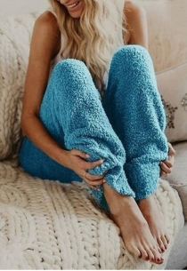 Women's Blue Loose Plush Wide Leg Pants Reversible Fleece Casual Trousers