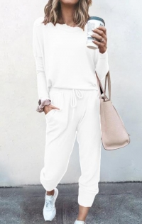 Loose solid white color long-sleeved casual suit