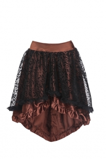 Floral Tulle Asymmetrical Satin Lace Ruffle Trim Steampunk Skirt Gothic Skirts, Brown