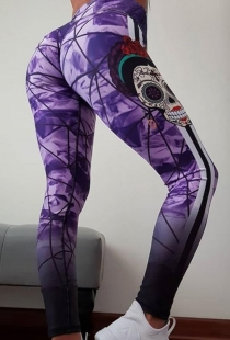 Purple Slim-fit buttocks printed yoga pants