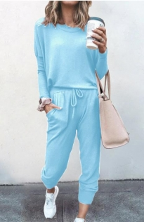 Loose solid sky blue color long-sleeved casual suit