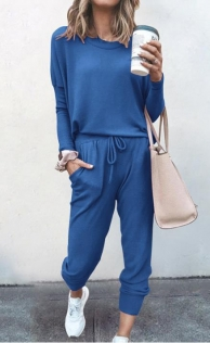 Loose solid royal blue color long-sleeved casual suit