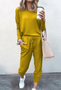 Loose solid yellow color long-sleeved casual suit