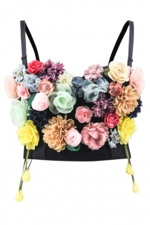 Three-dimensional flower decoration Bra Tops Push Up Tank Bralette