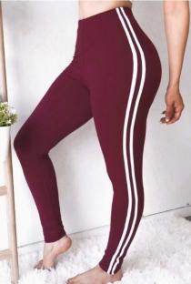 Burgundy slim-fit yoga pants
