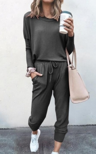 Loose solid dark gray color long-sleeved casual suit