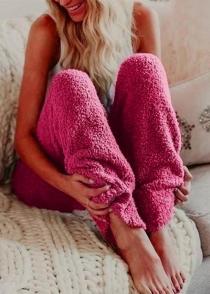 Women's Red Loose Plush Wide Leg Pants Reversible Fleece Casual Trousers