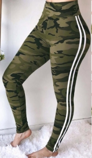 Army green camo slim-fit yoga pants