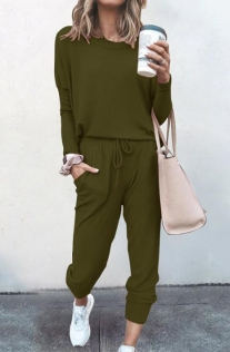 Loose solid army green color long-sleeved casual suit