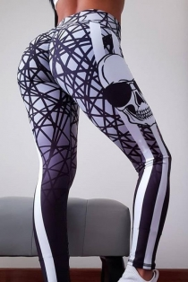 White Slim-fit buttocks printed yoga pants