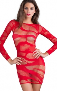 Red Long Sleeves Hollow Net Body Stockings
