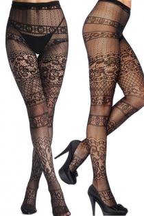 Black jacquard fishnet stockings