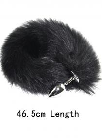 Small metal butt plug black tail fox tail anal plug fun props tail