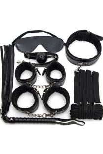 Black 7PCS Neck Collar Hand Cuff Wrist Bondage Set Body BDSM Restraint Harness Slave Game