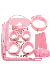 Pink 7PCS Neck Collar Hand Cuff Wrist Bondage Set Body BDSM Restraint Harness Slave Game