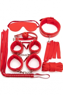 Red 7PCS Neck Collar Hand Cuff Wrist Bondage Set Body BDSM Restraint Harness Slave Game