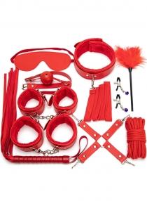 Red 10PCS Neck Collar Hand Cuff Wrist Bondage Set Body BDSM Restraint Harness Slave Game