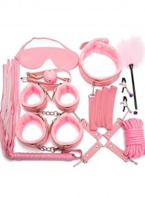Pink 10PCS Neck Collar Hand Cuff Wrist Bondage Set Body BDSM Restraint Harness Slave Game