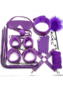 Purple 10PCS Neck Collar Hand Cuff Wrist Bondage Set Body BDSM Restraint Harness Slave Game