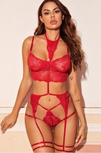Red one-piece halter three-point set garter lace perspective