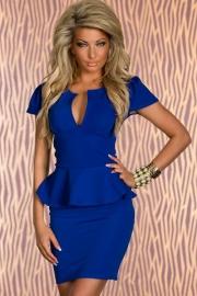 Solid Blue Short Sleeve Mini Dress With Ruffled Waistline Trim and Plunge Neckline