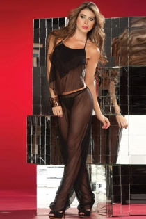 Sheer Black Harem Set With Layered Open-Back Camisole and Elastic Waist Wide Pants
