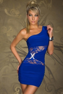 Blue One-Shoulder Bodycon Clubwear Dress With Silver Brooch and Lace Mesh Inserts