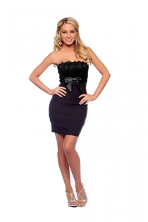 Deep Purple and Black Strapless Stretch Fit Dress With Ruffled Corset and Bow Waist