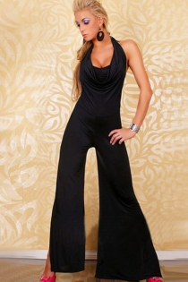 Sensual Black Satin Jumpsuit With Halter Cowl Neck and Split Bell Bottom