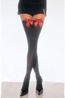 Semi-Sheer Black Thigh-High Stockings With Red Satin Bows on Welts
