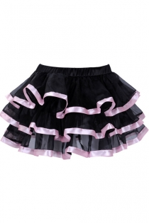 Exquisitely Black Layered Ruffles Light Gauzy Mini Skirt With Glossy Solid Light Pink Lining
