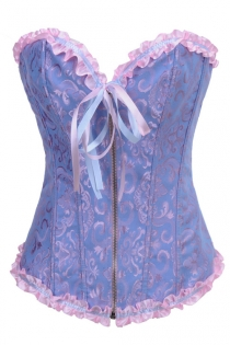 Ciel Blue Victorian Corset of Violet Floral Brocade With Combination Ribbon Trim, Sweetheart Neckline, Front Zipper