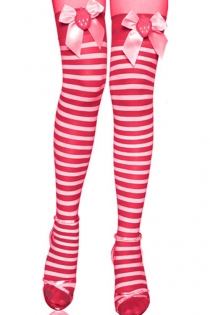 Red Strawberry Thigh-High Stockings, White-Striped, With Pink Welt Bows Featuring Strawberries