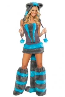 Attractive Tight Body Fitted Bodice Mini Skirt Exqusite Blue Gorgeous Fur Design