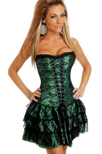 Sexy Green Corset With Black Floral Lace Overlay, Lace-up Front Panel and Ruched Lace Trim without matching skirt