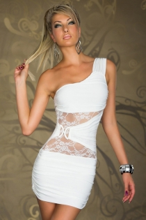 White One-Shoulder Bodycon Clubwear Dress With Brooch and Lace Mesh Inserts