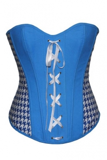 Blue and White Boned Overbust Corset With White Lace-up Front and White Geometric Print Side Panels
