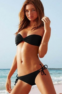 Solid Black Bikini Swimsuit With Bandeau Wrap Top, Side Tie Bottoms, and Detachable Halter Straps