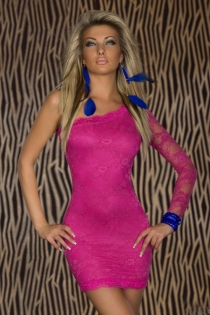 Hot Pink One-Shoulder Lace Bodycon Clubwear Mini Dress With Semi-Sheer Arm