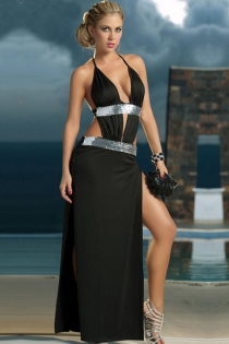 Elegant Black Maxi Gown With Extreme-V Halter Neckline, High and Low Rise Silver Sequin Bands and Thigh Splits