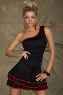 Latin One-shoulder Mini Dress in Black With Red Style Lines and Layered Ruffle Hem