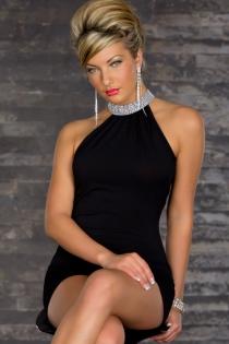Elegant Black Blue Mini Dress With Rhinestone Turtle Neck, Cowl Back and Bodycon Skirt