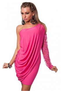 Alluring Silken Rich Pink Smooth Gently Pleated Right Shoulder Cover Partly Covering Tight Fit Garment