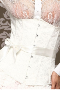 White Underbust Corset With Brocade Pattern and White Ribbon Bow Around Waist, Front Busk