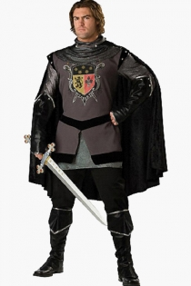 Elegant Knight Black Satiny Cape Dark Silvery Grey Longsleeve Above Knee Dark Grey Black Patterned Garment With a Knight's Mark