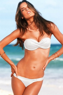 Solid White Strapless Bikini Swimsuit With Bandeau Wrap Style Top and Elastic Waistband Bottoms