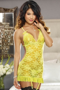 Yellow Floral Lace Babydoll With Plunge Neckline, Low-cut Back, Ruffle Trim, and Crossback Straps