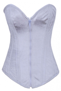 Intimate White Corset With Velvety Texture, Sweetheart Neckline and White Zipper