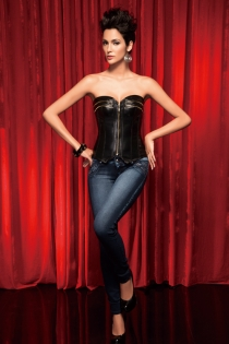 Fetish Black Faux-Leather Corset With Pointed Bottom, Brass Zipper Detail on Bust, Front Zipper