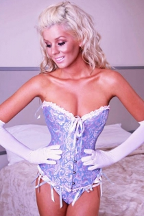 Dreamy Ciel Blue Corset With Matching Ribbons, Swirling Violet Pattern and White Ruched Trim, Front Busk